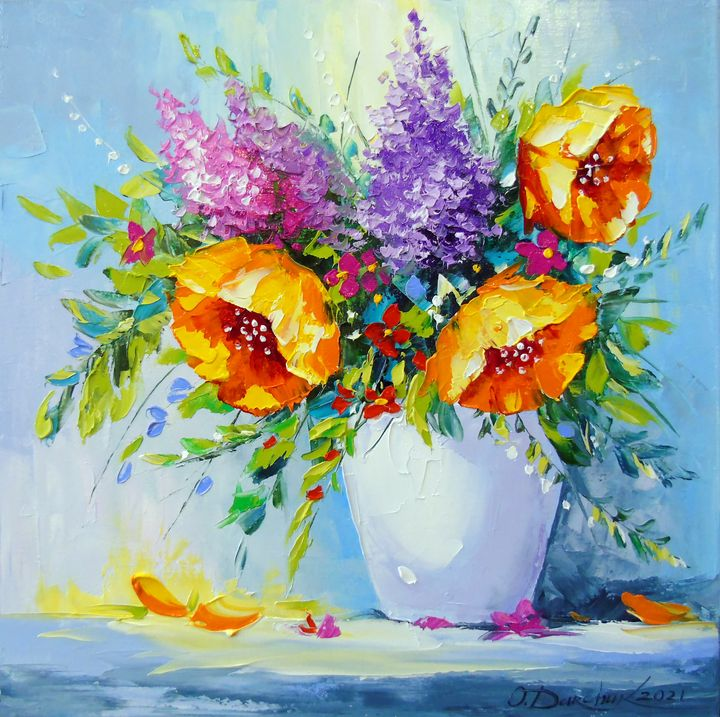 Bouquet of yellow flowers in a vase - Olha Darchuk
