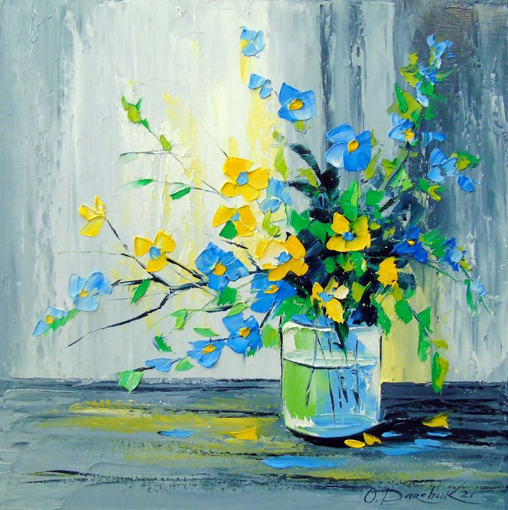 Bouquet of yellow and blue flowers - Olha Darchuk