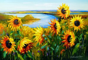 Sunflowers by the river