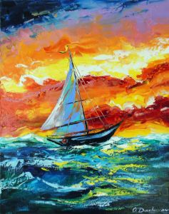 Sailboat and storm in the sea