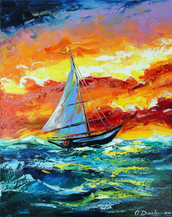 Sailboat and storm in the sea - Olha Darchuk
