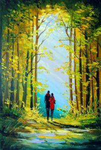 Autumn walk in the woods