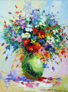 A bouquet of meadow flowers in a vas