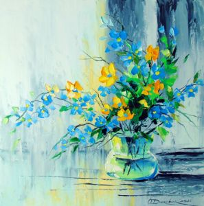 A bouquet of yellow-blue flowers in