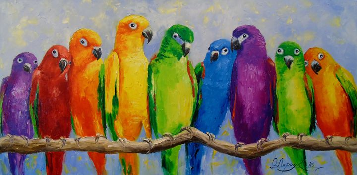 A flock of parrots - Olha Darchuk