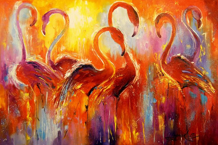 Graceful flamingos - Olha Darchuk