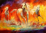 Horses, oil painting on canvas, natu