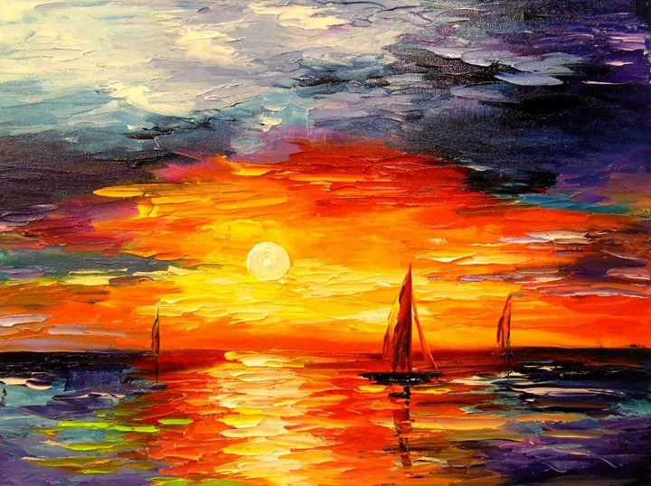 Sailboats at dawn - Olha Darchuk