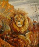 The king of beasts,oil painting on c