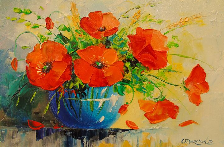 Bouquet of poppies in vase - Olha Darchuk