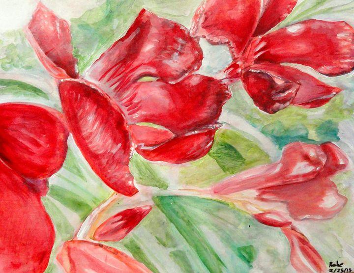 Bright Red Flowers - Rebecca Mullins Artwork