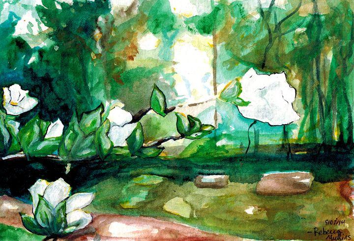 Little White Morning Flowers - Rebecca Mullins Artwork