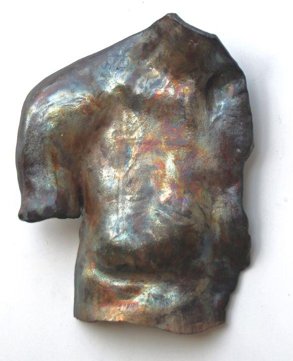 Original Raku Sculpture - His Chest - The Weber Studio