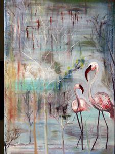 Flamingos abstract