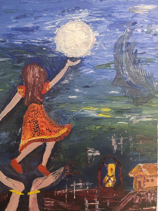 Reaching Moon - Meena's Art Gallery