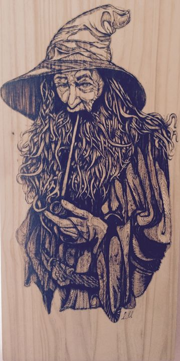 The Grey - Solid Hardwood Pyrography - Liam Martin