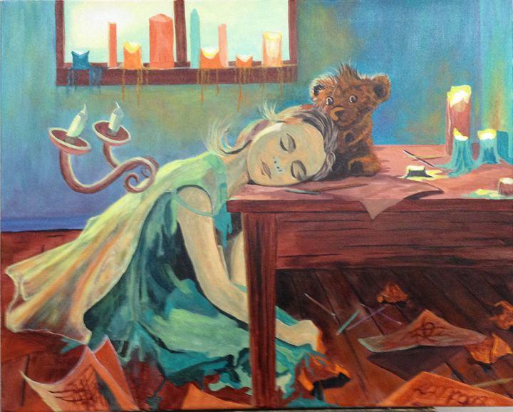 Little Girl Painting Midern Art
