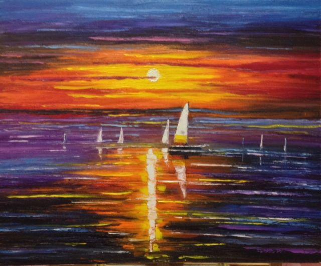 Sailboats at Sunset - Kim Castor
