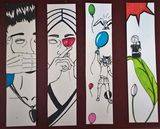 """Four """"touch of colour"""" bookmarks"""