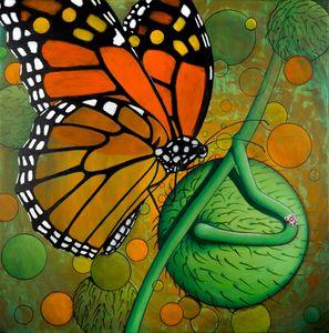 Monarch & Swan Plant - Art by Birgitt