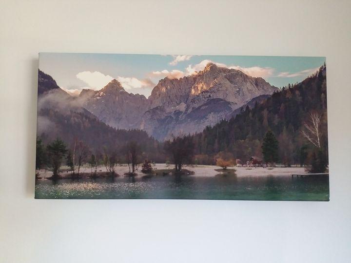 "20""x20"" canvas-lake jasna-slovenia - Bikerofapocolypse"