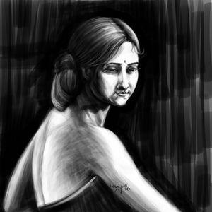 woman in dark