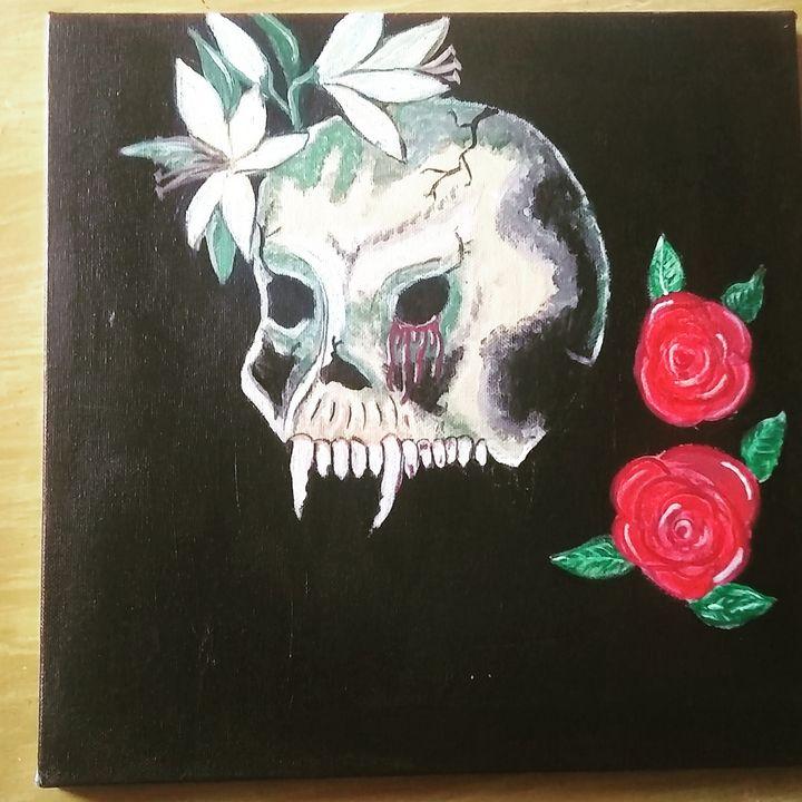 Skull and flowers - Lorraine lee