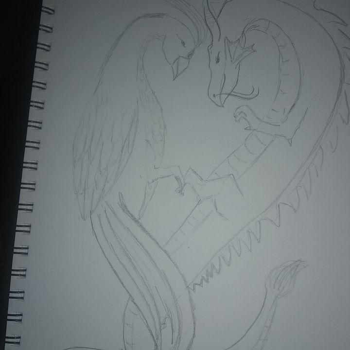 Pheonix and dragon pencil - Lorraine lee