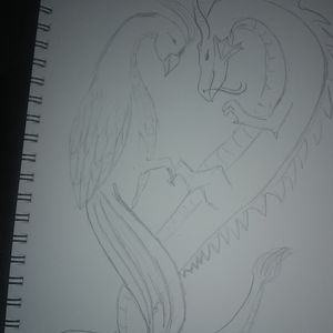 Pheonix and dragon pencil