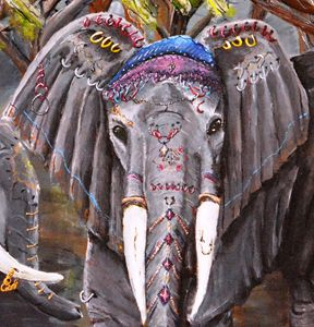 Elephant dressed in jewelry fragment