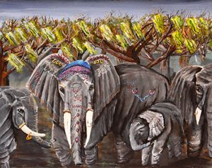 Elephant dressed in jewelry