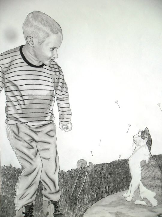Boy and a cat - Thamir