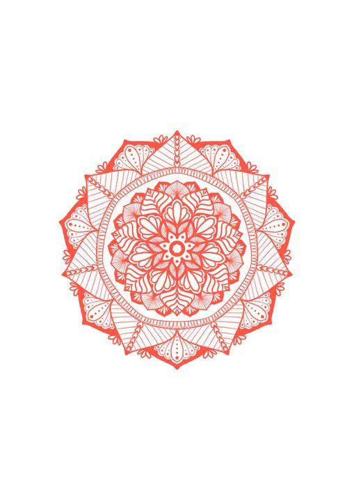 Red Mandala Wall Print WallArt - ElfElfen