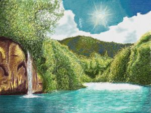 Nature colored pencil drawing