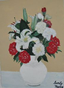 Flowers in a white vase - Art by Sandy Taylor
