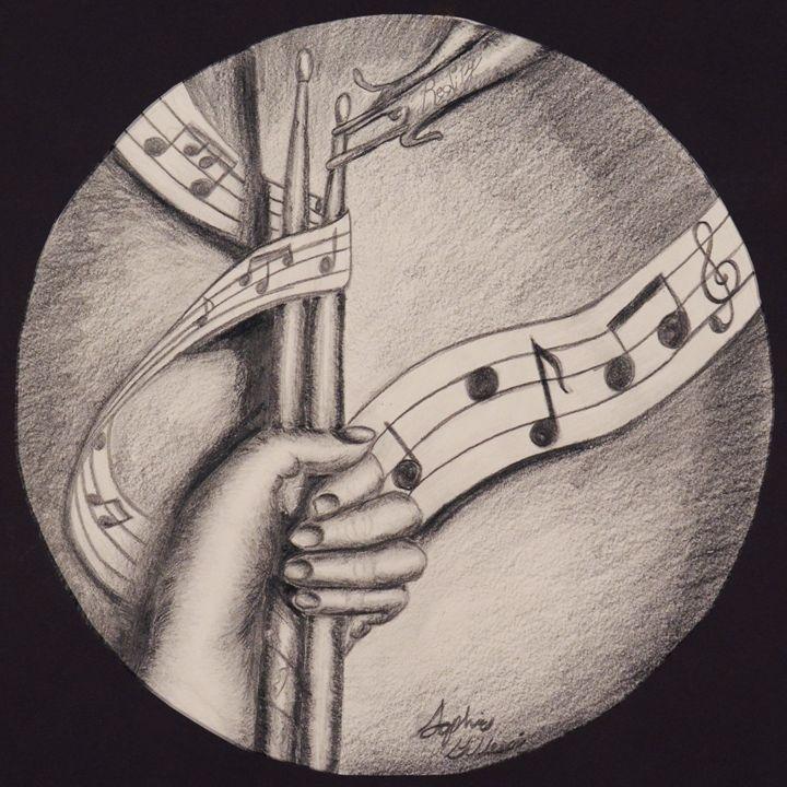 Hand holding Drumsticks - Sophie G's art