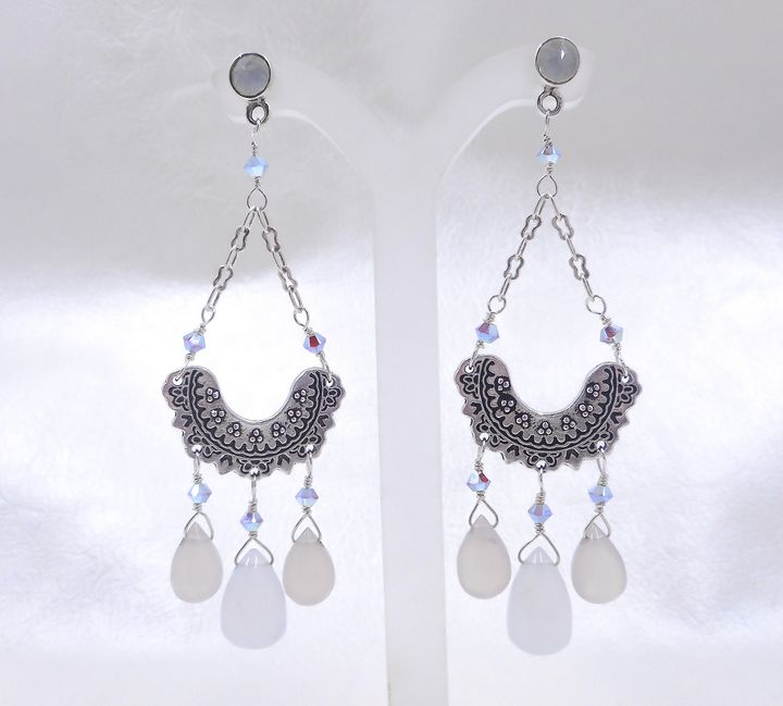 Chalcedony, Crystal & Lace Earrings - Community Artists Gallery & Studios