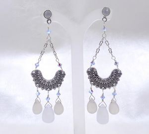 Chalcedony, Crystal & Lace Earrings