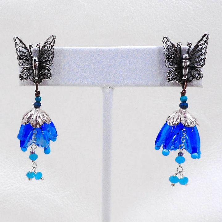 Butterfly And Flowers Earrings - Community Artists Gallery & Studios