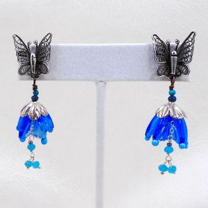 Butterfly And Flowers Earrings