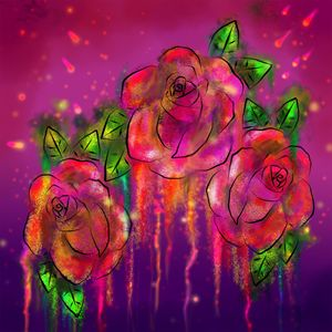 fire work water color roses
