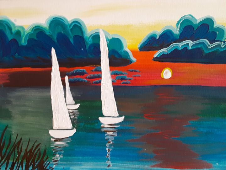 Sailboats in the Sunset - Alecia Samuelson's Art