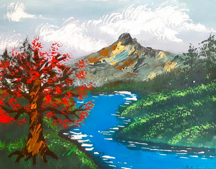 Red Tree on a Crystal Blue River - Alecia Samuelson's Art