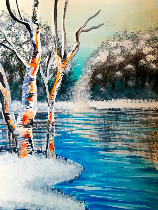 Birch Trees on a Chilly Riverbank - Alecia Samuelson's Art