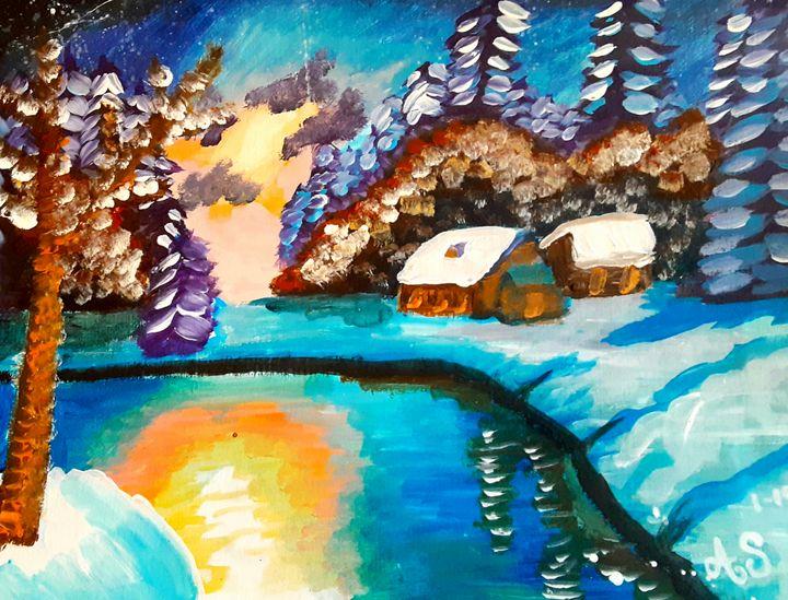Winter Cabins on a Still Lake - Alecia Samuelson's Art