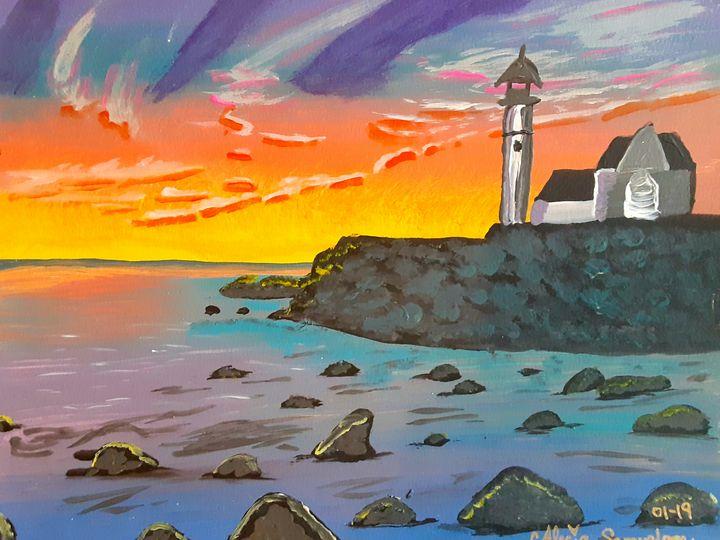 A Lighthouse on the Oceans Edge - Alecia Samuelson's Art