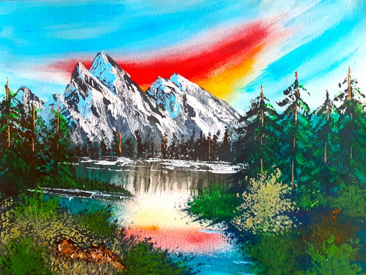 Sunburst Sky & Mountains in the Wild - Alecia Samuelson's Art
