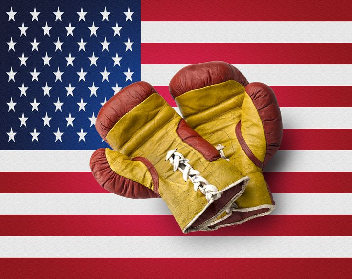 Red and Yellow boxe gloves on USA fl - pbombaert