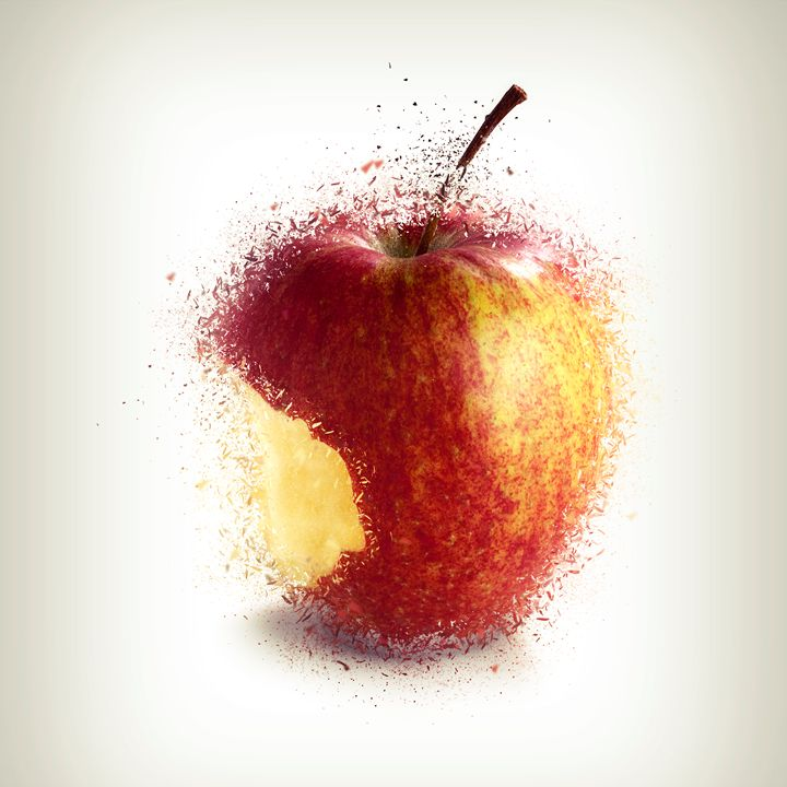 Red bitten apple shattered - pbombaert