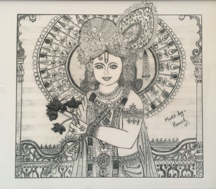 Lord Krishna Pencil Sketches By Parul Paintings Prints